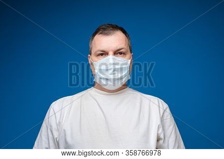 Man Wearing Aseptic Mask To Prevent Illness.
