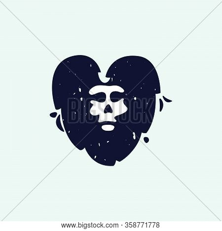V Letter Logo With Skull Face. Hand Written Shaggy Grunge Style. Perfect Typeface For Horror Labels,