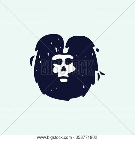 U Letter Logo With Skull Face. Hand Written Shaggy Grunge Style. Perfect Typeface For Horror Labels,