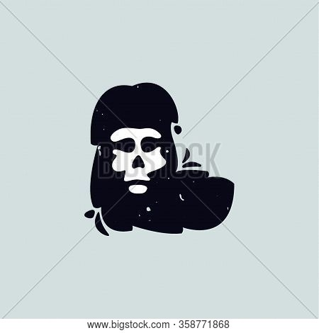L Letter Logo With Skull Face. Hand Written Shaggy Grunge Style. Perfect Typeface For Horror Labels,