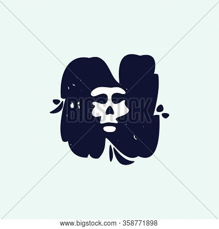 N Letter Logo With Skull Face. Hand Written Shaggy Grunge Style. Perfect Typeface For Horror Labels,