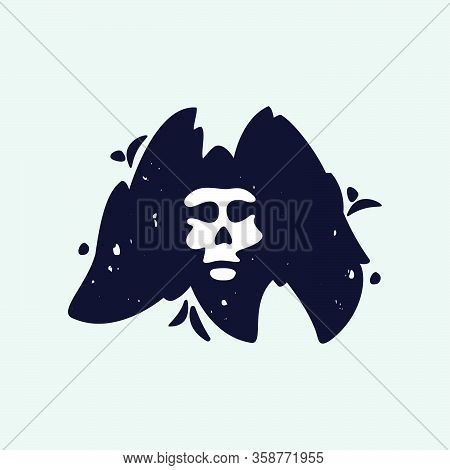 M Letter Logo With Skull Face. Hand Written Shaggy Grunge Style. Perfect Typeface For Horror Labels,