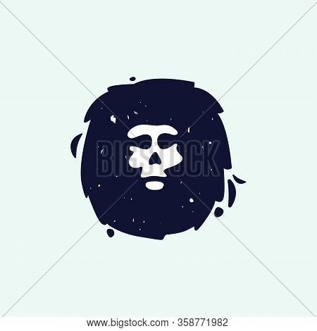 O Letter Logo With Skull Face. Hand Written Shaggy Grunge Style. Perfect Typeface For Horror Labels,