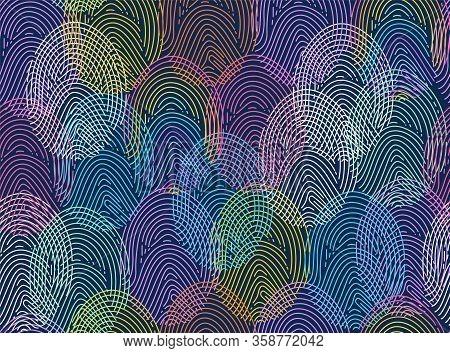 Diverse Fingerprint Concept, Data Security Metaphor. Vector Seamless Pattern.