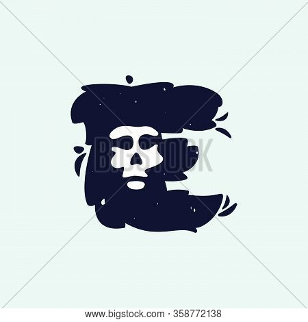 E Letter Logo With Skull Face. Hand Written Shaggy Grunge Style. Perfect Typeface For Horror Labels,