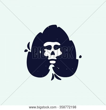 Letter A Logo With Skull Face. Hand Written Shaggy Grunge Style. Perfect Typeface For Horror Labels,