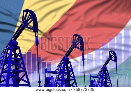 Seychelles Oil And Petrol Industry Concept, Industrial Illustration On Seychelles Flag Background. 3