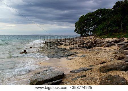Idyllic Beach In The Pacific Ocean: Beach On Fiji / Yasawa Islands / Fiji