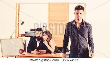 Office Collective Concept. Sexual Attraction. Stimulate Sexual Desire. Sexual Attention. Male Rivalr