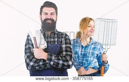 Cooking Together. Barbecuing Common Technique. Essential Barbecue Dishes. Bearded Hipster And Girl H