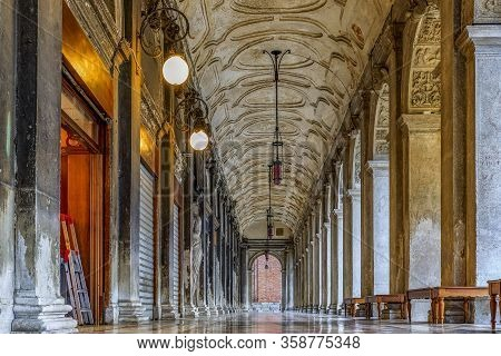 Picturesque Arched Gallery Of National Library Of St Mark Or Biblioteca Nazionale Marciana On Piazza