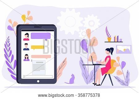 Distant Work Quarantined. Woman Sitting At Home And Using Laptop, Chatting To Colleagues. Concept Fr