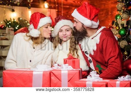 Christmas Traditions. Christmas Memories. Happy Moments. Girl At Home On Christmas Eve. Kid Celebrat