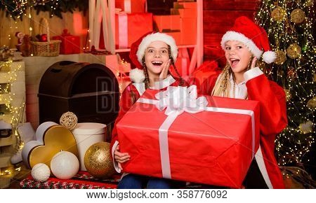 Happiness And Joy. Santa Crew. Girls Friends Sisters Santa Claus Costumes Received Gift. Santa Party