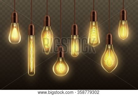 Light Bulbs Hanging On Cords Realistic Vector Design Of Glowing Lamps Or Ceiling Pendants. Incandesc