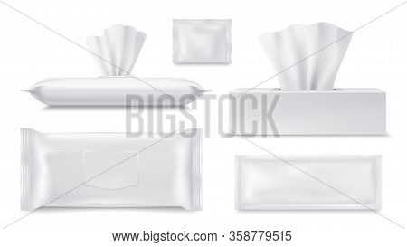 Wet Wipes Pouch And Paper Tissue Or Napkin Box, Vector Realistic Packages, Blank 3d Templates. Paper