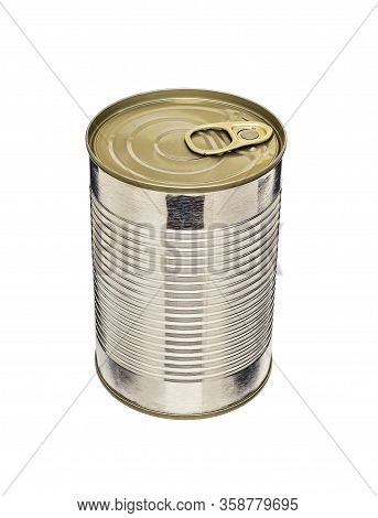 Ribbed Cylindrical Tin Can With Pull Tab Isolated On White Background. Closed Metal Tin Can Without