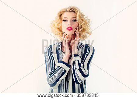 Portrait Of Young Beautiful Sexy Woman With Glamorous Make-up And Hairstyle, On White Background. Pi