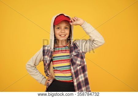 Modern Teenager. Confident And Carefree. Cute Hipster Teenager Kid Yellow Background. Cheerful Teena