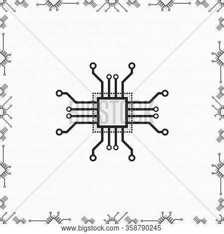 Flat Cpu Microprocessor Vector Pattern For Web And Print Design. Vector 2d Concept Illustration With