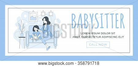 Babysitter Web Banner Template. Happy Young Woman Sitting With Little Girl Vector Cartoon Outline Il