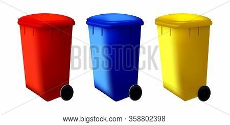 Bin Trash Isolated Container. Street Dustbin. Set Of Recycled Sorting System Trashcan. Vector Collec