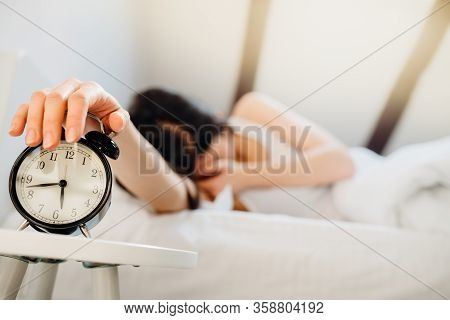 Alarm Clock Ringing.woman Waking Up In Early Morning For Work.obstructive Sleep Apnea Effects.mental