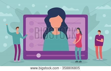 People Look At Video Screen With Teacher. Metaphorical Concept Of Distance Learning And Education Wi