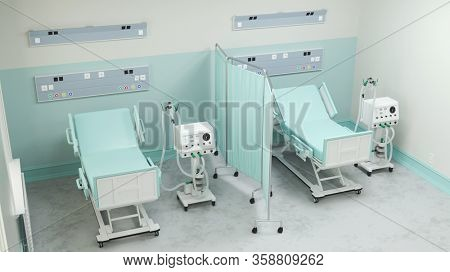 Clinic with ventilators and intensive care beds for Covid-19 patients with coronavirus epidemic (3D Rendering)