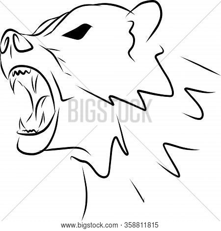 Contour Image Of A Bear. The Beast Growls. Black Lines. Suitable For Book, Print
