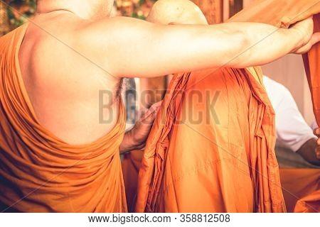 Thai Monk Help To Wear Orange Monk Cloth To Buddhist Man Change Situation To Newly Ordained Buddhist