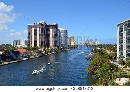 Condominium Apartment Buildings On The Shores Of The Florida Intra-coastal Waterway In Aventura,flor