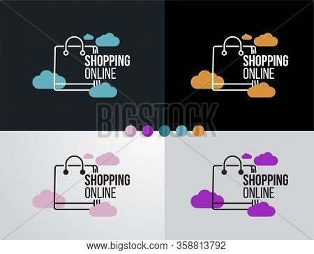 Logo Online Shopping Set On Cloud Design Icon For Business Template Vector Illustrator.