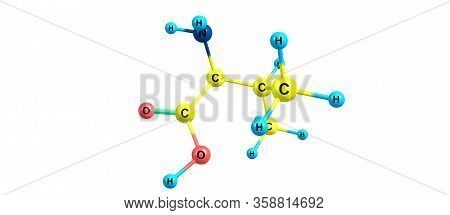 Valine Or Val An Amino Acid That Is Used In The Biosynthesis Of Proteins. 3d Illustration