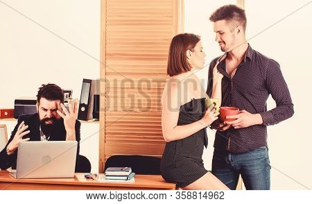 Lunch Time Is Not Fixed. Young Employees Talking During Work Lunch. Two Coworkers Having Tea Or Coff