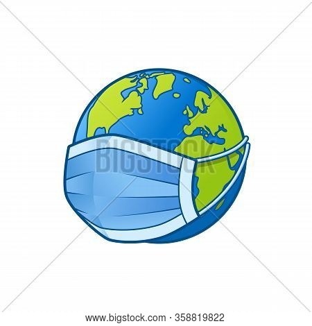Earth With A Mask, The Concept Of The World Against Viruses, The World Is In Danger, Corona Virus At