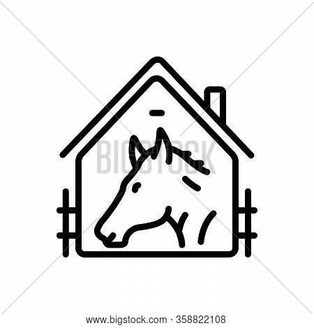 Black Line Icon For Horse-in-stable Racing Farmyard Stable Horse Sport Ride Window Equestrian Cattle