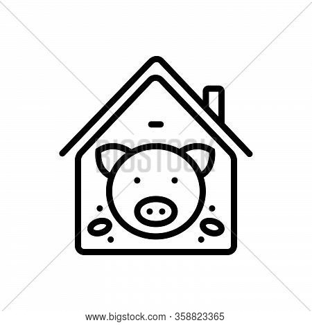 Black Line Icon For Pig-in-pigsty Pig Boar Abundance Animal Family Farm Meat Butcher Hoofed
