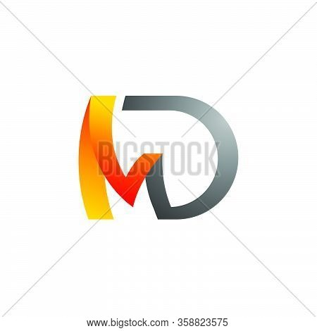 Abstract Textured Md Logo Initial D & M Letter Graphic Concept Vector Icon Template.