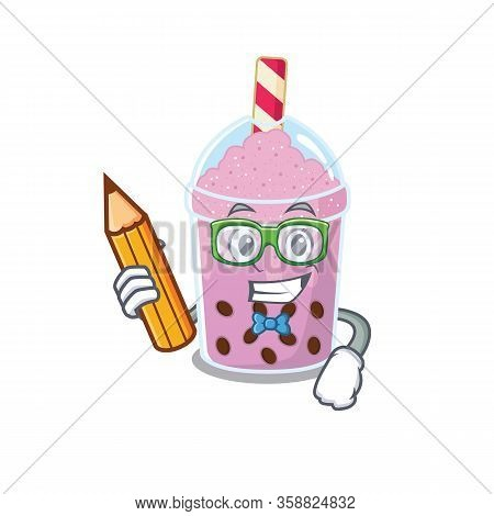 A Brainy Student Taro Bubble Tea Cartoon Character With Pencil And Glasses