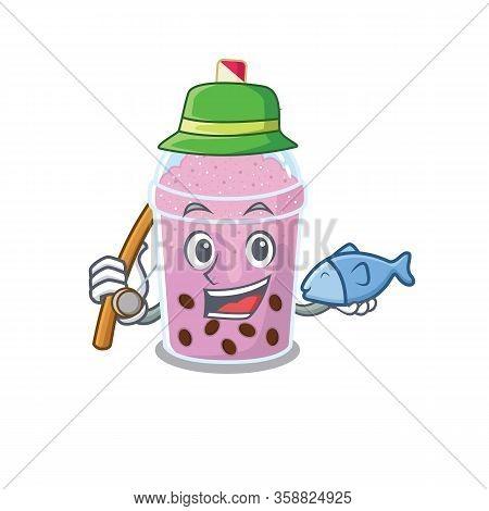 Cartoon Design Concept Of Taro Bubble Tea While Fishing