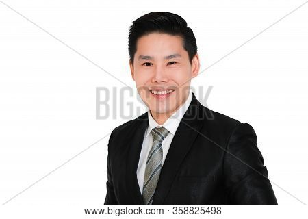 Young And Handsome Smiley And Friendly Face Business Asian Man Black Suit With Red Necktie Standing