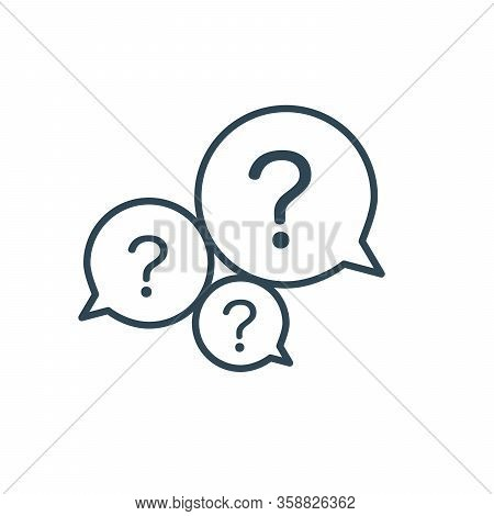 Three Linear Chat Speech Message Bubbles With Question Marks. Faq Or Forum Icon. Communication Conce