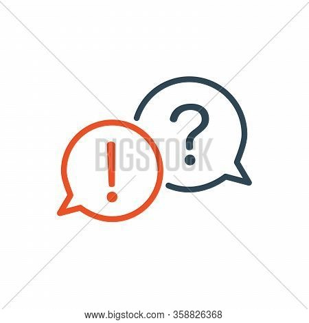Two Linear Chat Speech Message Bubbles With Question And Exclamation Marks. Faq Or Forum Icon. Commu