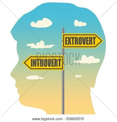 Double Exposure Portrait Of Young Man And Road Signs. Introvert And Extrovert Text Pointing In Oppos