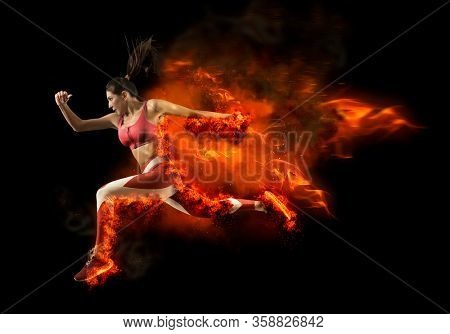 Woman sprinter leaving starting. Fire start. Concept with copy space