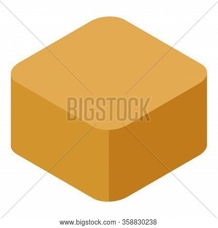 Cube Toffee Icon. Isometric Of Cube Toffee Vector Icon For Web Design Isolated On White Background