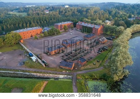 Hameenlinna, Finland - July 21, 2018: A View From High To Onto The Museo Militaria Building Complex