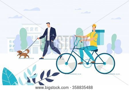 Free Food Delivery Express Service. Man Courier Riding Bicycle Carrying Fresh Healthy Set-meal Baske
