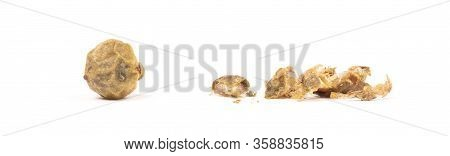 Whole Peper Next To A Crushed One - Green - Isolated On White